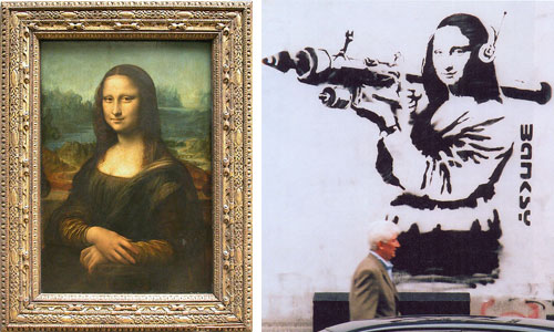 Original Mona Lisa and Mona Lisa with Rocket Launcher